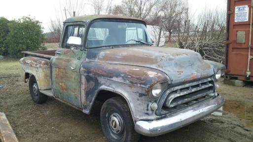 SOLD 1957 CHEVROLET 3100 STEPSIDE PICKUP 327 / 5 SPEED MANUAL TRANS